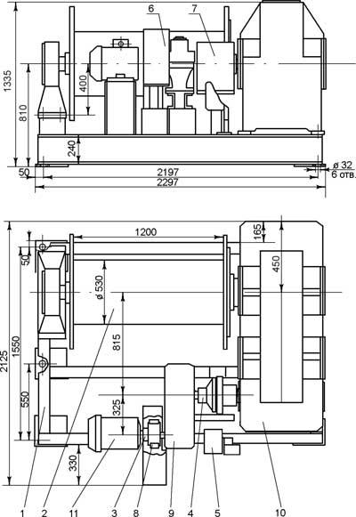 Габариты лебедки тяговой электрической ТЭЛ-15