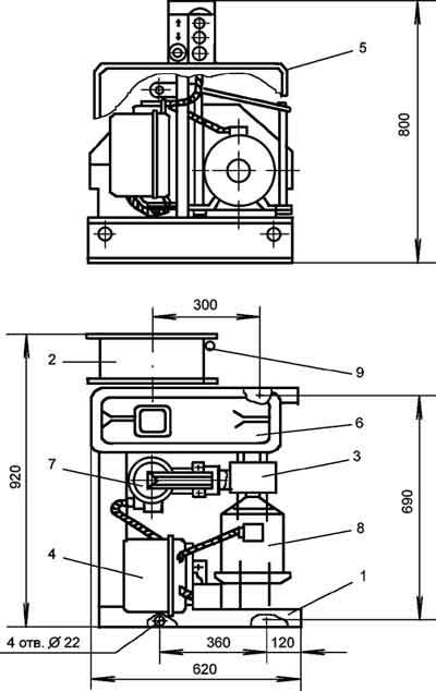 Габариты монтажно-тяговой электрической лебедки ТЛ-14А