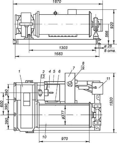 Лебедка ТЛ-7Б-1 габариты