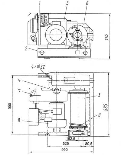 Габариты лебедки ТЛ-9А-1