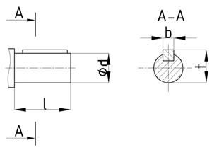 Присоединительные размеры цилиндрических валов редуктора 1Ц3У-250