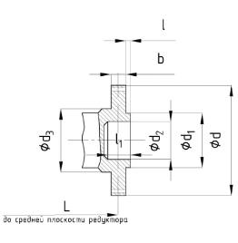 Присоединительные размеры тихоходного вала редуктора 1Ц3У-250 в виде зубчатой полумуфты